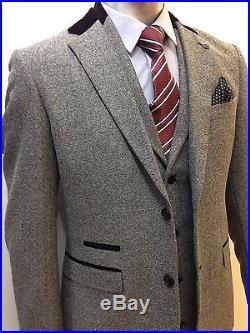 Mens Marc Darcy Designer Grey Tweed Herringbone Three (3) Piece Suit