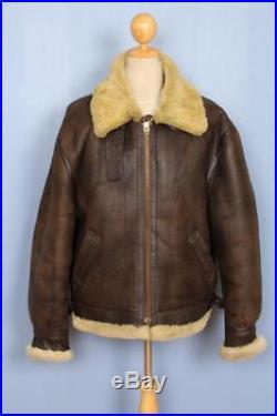 Mens SCHOTT B-3 USAAF Sheepskin Leather Winter Flight Jacket Size 48/50