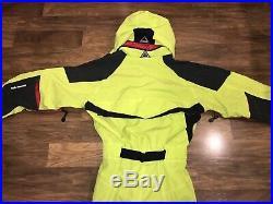 Mens Small HELLY HANSEN Equipe SKI SUIT One Piece Snow Bib vtg neon Snowsuit S