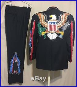 Mens Suit Americana Rockabilly Western Nudie Inspired Rhinestone Ooak