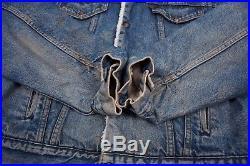 Mens Vintage 1980s Levis Fur Lined Blue Denim Sherpa Jacket Large 44 R6689