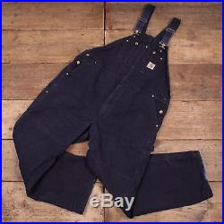 Mens Vintage Carhartt Navy Blue Workwear Bib Overalls Dungarees 46 x 32 R7876