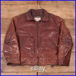Mens Vintage Diesel Blanket Lined Leather Bomber Jacket Brown L 44 R5078