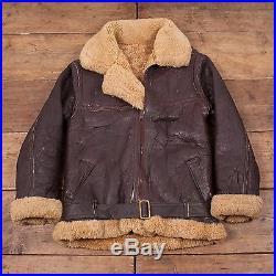 Mens Vintage Leather B3 Sheepskin Fur Lined Shearling Flight Jacket M 38 R4655