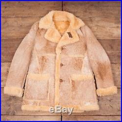 Mens Vintage Schott Beige Suede Sheepskin Sherpa Coat Jacket Large 42 R6727