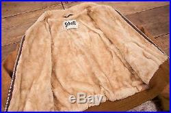 Mens Vintage Schott Sheepskin Leather Fur Lined Jacket Talon Brown L 44 R4561