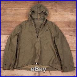 Mens Vintage US Navy 1940s Green Foul Weather Smock Jacket Medium 40 XR 8249