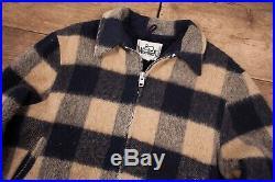 Mens Vintage Woolrich 1970s Blue Beige Wool Sherpa Jacket Coat Large 44 R11734