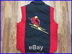 Mens Vtg 90s Polo Ralph Lauren Circle Ski Suicide Polo USA Cookie Down Vest L