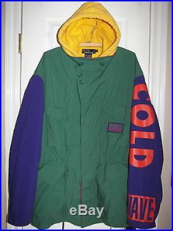 Mens Vtg Snow Cold Wave POLO RALPH LAUREN 92 Jacket Stadium Sport Color Block XL
