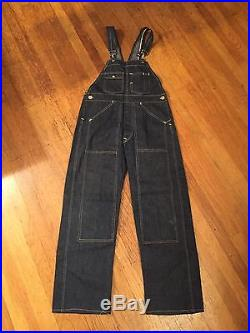 NOS VTG 1930s 1940's Workwear Men's Denim Work Blue Jean Overalls Deadstock