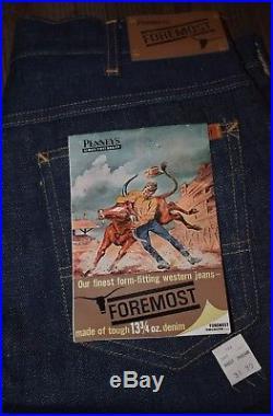 NOS VTG Penneys Foremost Western Sanforized Selvedge Blue Denim Jeans 31×30