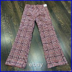 NOS Vtg 60s 70s Bell Bottom Pants Plaid Corduroy Hippie Disco Mod NEW Mens 34 32