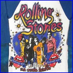 NOS vintage 80s ROLLING STONES CONCERT JERSEY T-Shirt XXS rock metal tour raglan