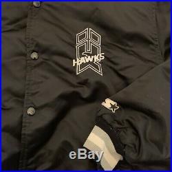 New Haven Nighthawks Vintage Satin Starter Jacket Men's Size XL 80s AHL Black