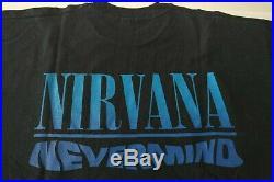 Nirvana Kurt Cobain T-shirt Nevermind Vintage 90s Tee Shirt Black XL X-Large