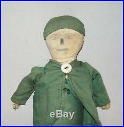 Old Antique Vtg Ca 1910s Folk Art Cloth Rag Doll Man Pencil Drawn Face Hand Made