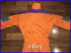 Orange THE NORTH FACE Extreme VTG One piece SKI SUIT Snow Bib Snowsuit Men SMALL