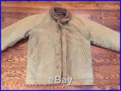 Original WW2 N-1 Deck Jacket USN Alpaca Lined, 40, Stenciled
