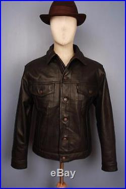 Pristine Vtg LEVIS STRAUS Leather Motorcycle Jacket Western Medium
