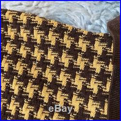 Puritan Vintage Large Brown Yellow Ban Lon Shirt Houndstooth Short Sleeve 60s 70