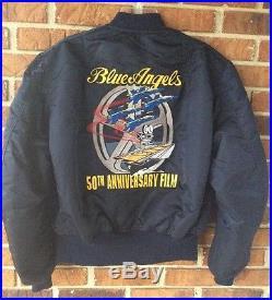RARE 90s Blue Angels M-A1 Jacket Mens L 50th Anniversary Film Alpha Industries