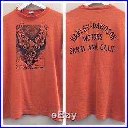RARE VTG 70s Champion HARLEY DAVIDSON Santa Ana California Blue Bar Shirt