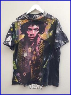 RARE VTG 90s Jimi Hendrix ALL OVER PRINT Shirt THIN THRASHED Mens Large