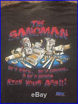 RARE Vtg 90s Original ECW Sandman Wrestling Shirt WWF WWE WCW NWA Raven Sabu Taz