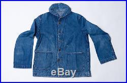 Real Vtg 1940's Wwii Uscg Us Coast Guard Usn Indigo Shawl Collar Jacket Usn