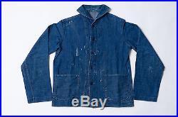 Real Vtg 1940's Wwii Usn Us Navy Indigo Shawl Collar Jacket Original Button