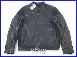Rogue State Vintage Apparel 100% Leather Black Large Moto Jacket Mens Nwt New