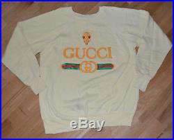 RaRe 80's 90's GUCCI LOGO vintage yellow hip-hop shirt sweatshirt (M/L) NYC