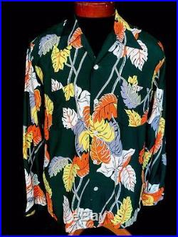 Rare Collector's 1950's Kahanamoku Silky Rayon Hawaiian Print Shirt Size Medium