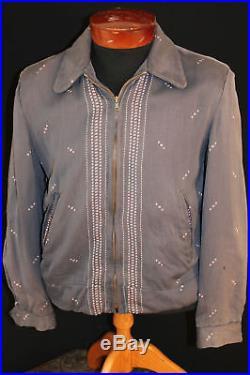 Rare Printed Vintage 1950's Grey & Pink Print Gabardine Jacket Sz S