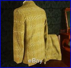 Rare Savile Row Bespoke Mens Vintage 3 Piece Tweed Suit circa 1940's 38 small