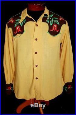 Rare Vintage 1930's-1940's Wwii Era Gold Embroidered Gabardine Western Shirt Sm