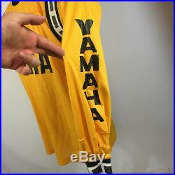 Rare Vintage 60s 70s Team Yamaha Racing Motocross Dirt Bike Jersey T Shirt YLW