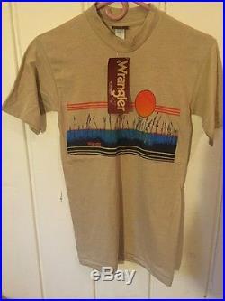 Rare Vtg Wrangler 1980s Tshirt Border Print 50/50 S Deadstock