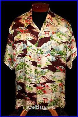 Rarest Collection Quality 1940's Pearl Line Fine Silk Satin Hawaiian Shirt XL
