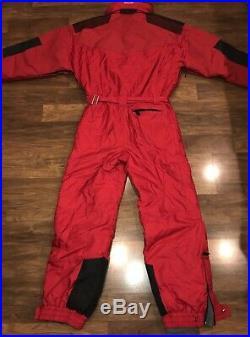 Red MARKER Mens XL One Piece SKI SUIT Snow Onsie Bib Mountaineering vtg Snowsuit