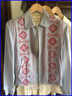 Rockabilly Ricky Gabardine Jacket Blue Indian Pattern SIZE 36 FITS MEDIUM