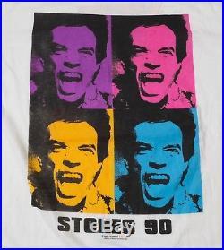 Rolling Stones Shirt Vintage Jagger Tour Tee Concert 90s XL Mint Warhol Pop Art