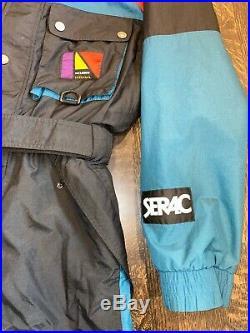 SERAC NO Limits VTG One piece SKI SUIT Snow Bib retro Snowsuit MENS LARGE 44