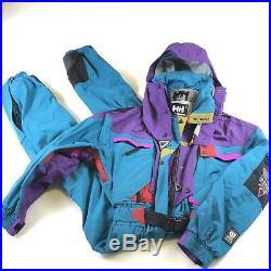 Teal HELLY HANSEN Equipe Mens XS SKI SUIT One Piece Snow Bib Vtg Snowsuit EUC