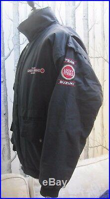 Team Suzuki Lucky Strike Jacket Vintage 80s 90s Black Embroidered Men's S Small