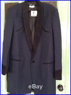 Teddy Boy Drape Jacket In Dark Blue Rock N Roll Traditional East End Tailor