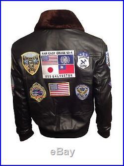 Tom Cruise Pete Maverick Top Gun Flight Bomber Jacket w Real Fur Trimmed Collar