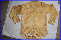 True vintage 1950s Levi's Western shirt gold satin saddleman label