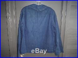 U. S. Navy Denim Shawl Jacket In Great Condition Size 40 Chest Super Clean Wwii